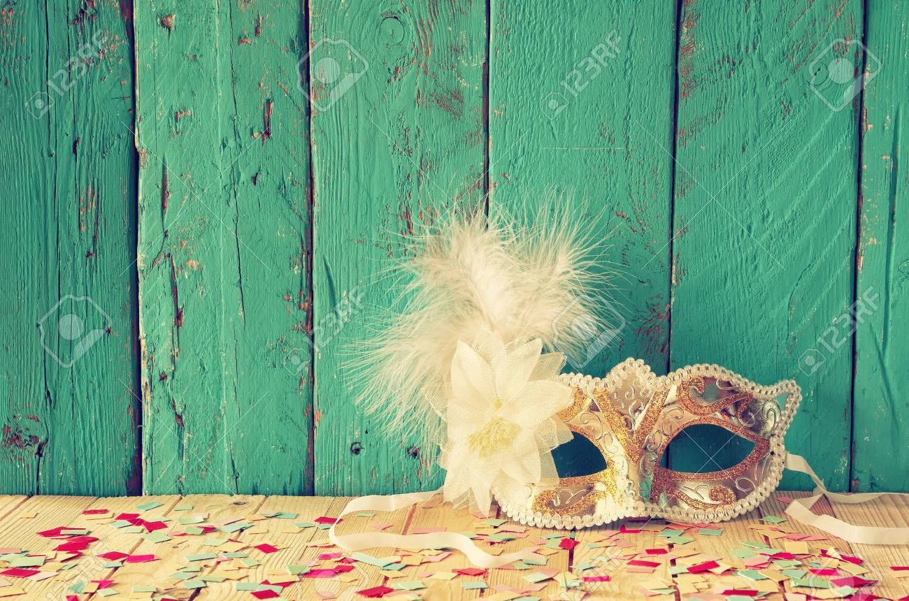 Venetian masquerade mask. selective focus. vintage filtered Stock Photo - 52460824