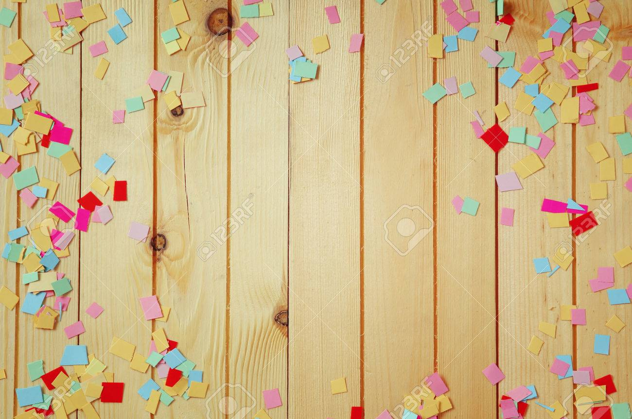 party background with colorful confetti Stock Photo - 52575191