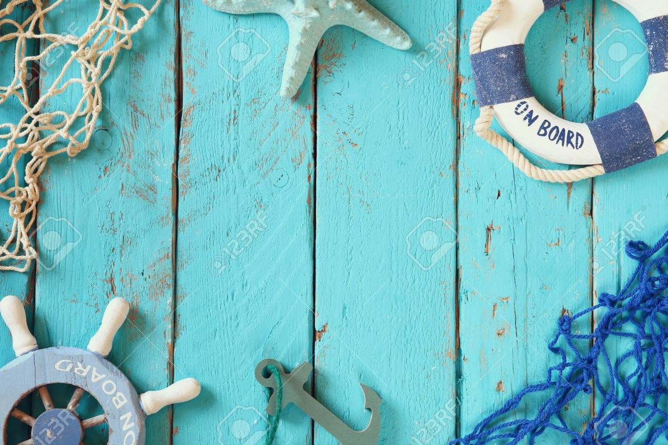 top view nautical concept with nautical life style objects. vintage filtered - 53659599