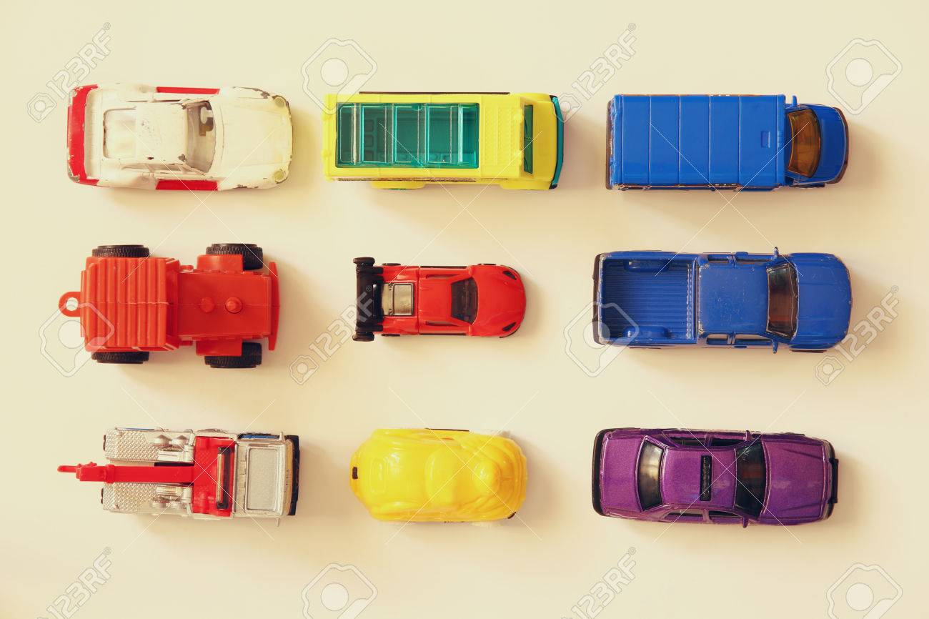 Set Of Various Cars Toys Top View Image Stock Photo Picture And