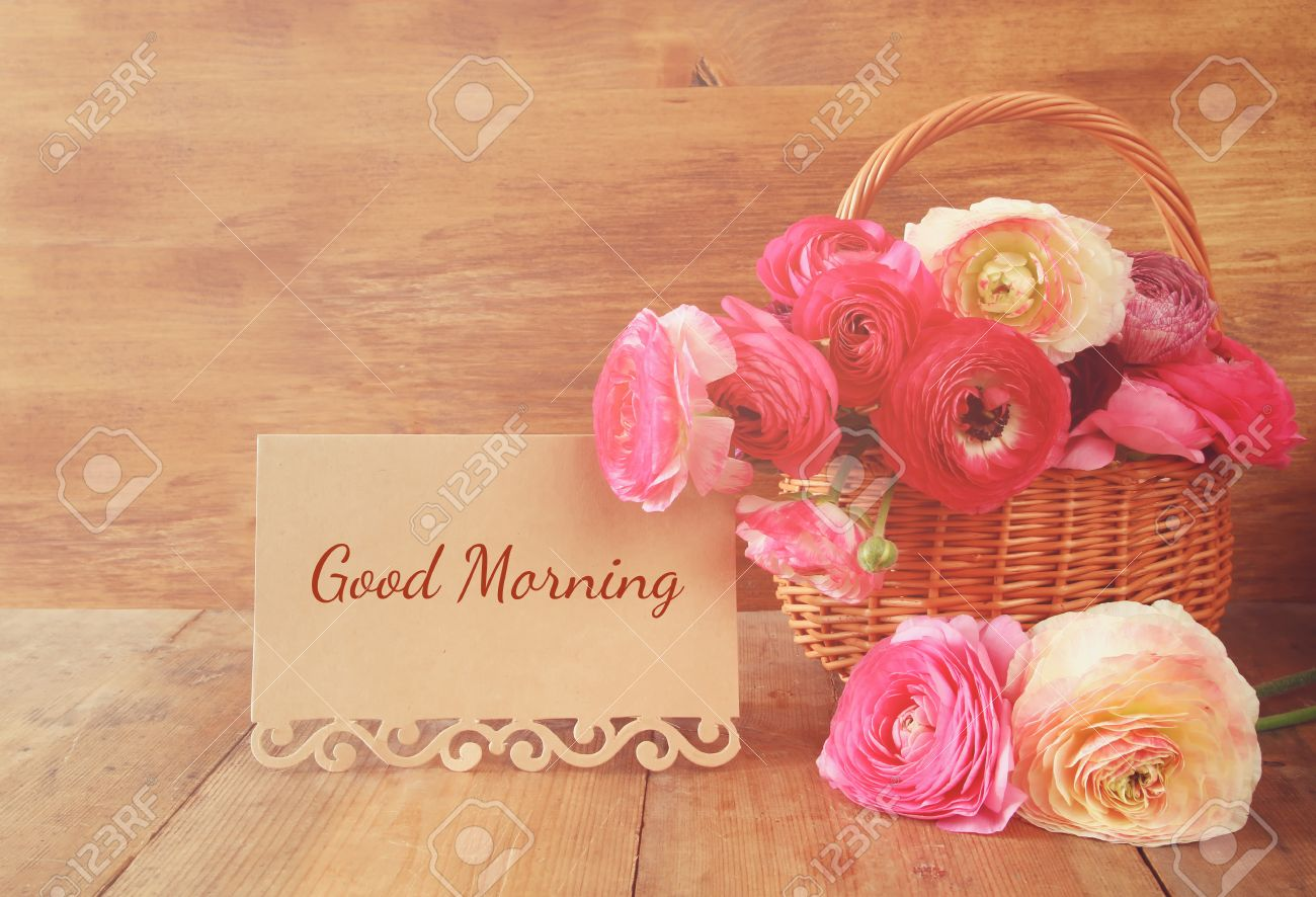 Image Of Beautiful Flowers Next Card With Text Good Morning