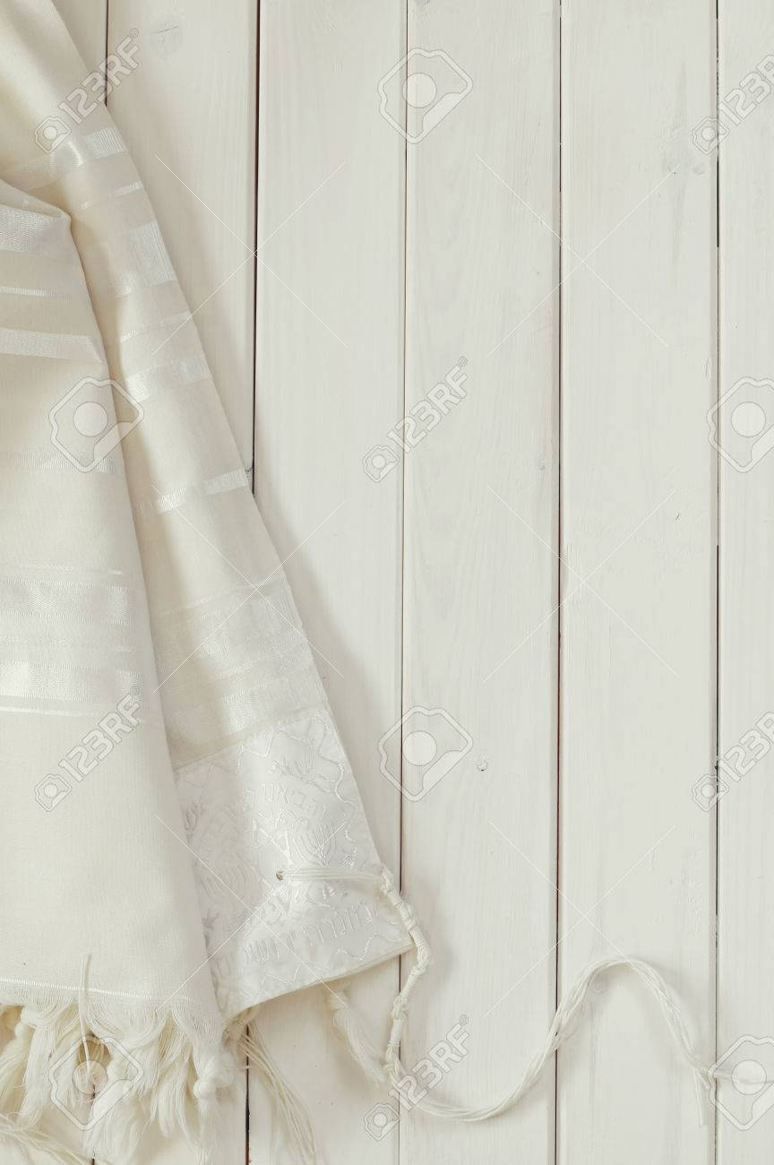 White Prayer Shawl Tallit Jewish Religious Symbol Stock Photo