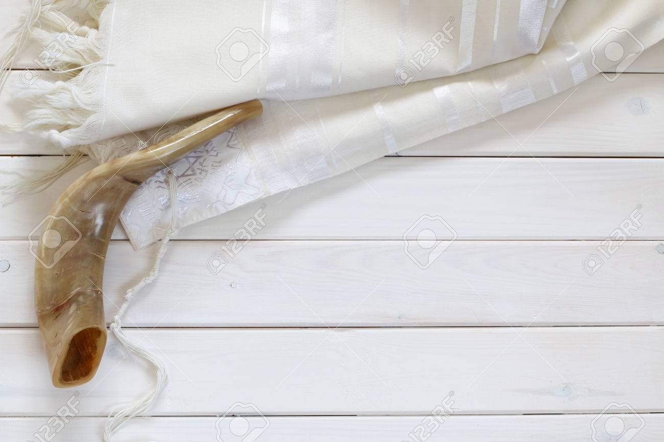 White prayer shawl tallit and shofar horn jewish religious white prayer shawl tallit and shofar horn jewish religious symbols stock biocorpaavc Gallery
