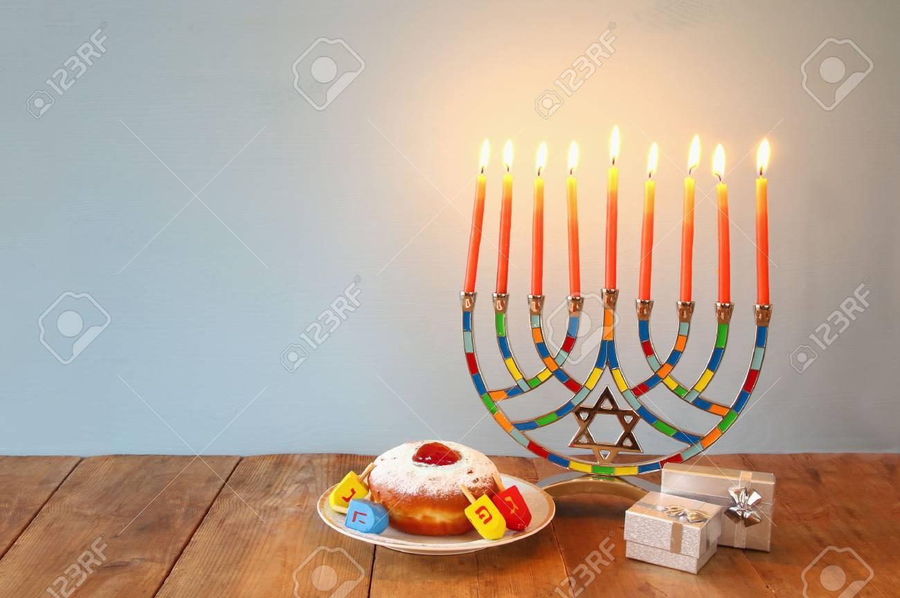 Image of jewish holiday Hanukkah with menorah (traditional Candelabra) Stock Photo - 66813376