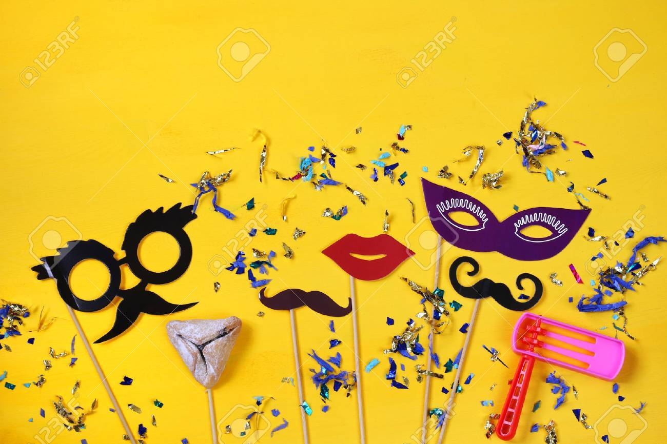 Purim celebration concept (jewish carnival holiday). Top view Stock Photo - 69919976