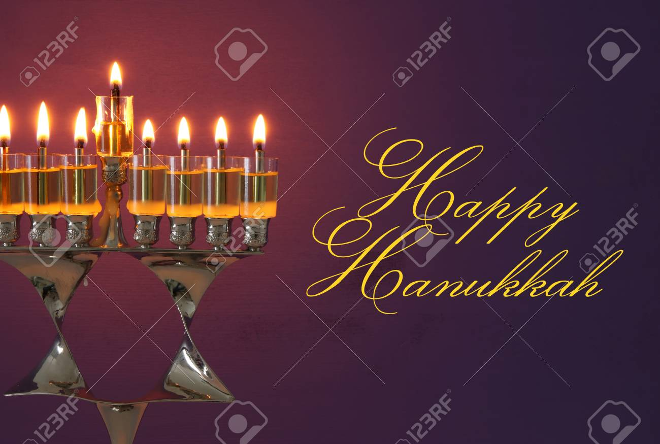 Image Of Jewish Holiday Hanukkah Background With Menorah ...