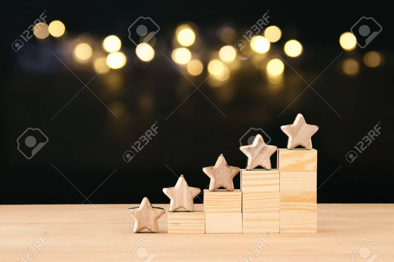 Concept image of setting a five star goal. increase rating or ranking, evaluation and classification idea - 110342714
