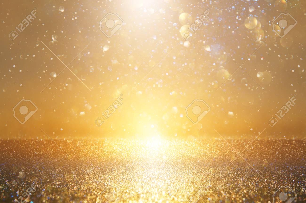 glitter vintage lights background. silver and gold. de-focused - 111570003