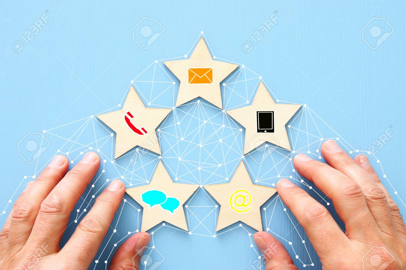 Concept of setting five star customer service rating. Contact us business idea - 114465979