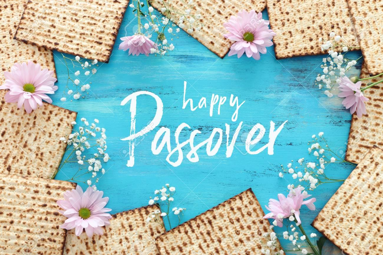Pesah celebration concept (Jewish Passover holiday). Top view, flat lay - 120173361