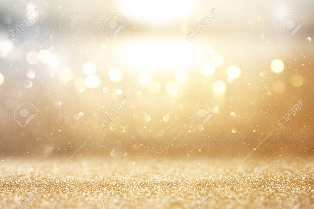 Photo of gold and silver glitter lights background - 120173423
