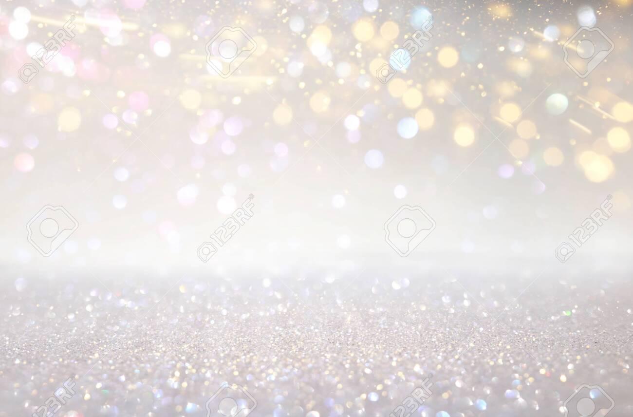 Glitter silver and gild lights background. De-focused - 122161892