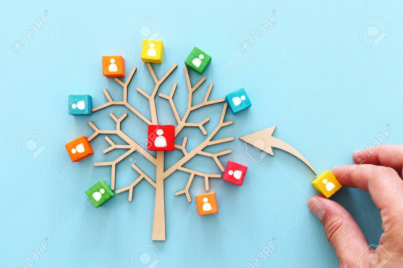Business image of wooden tree with people icons over blue table, human resources and management concept - 126462510