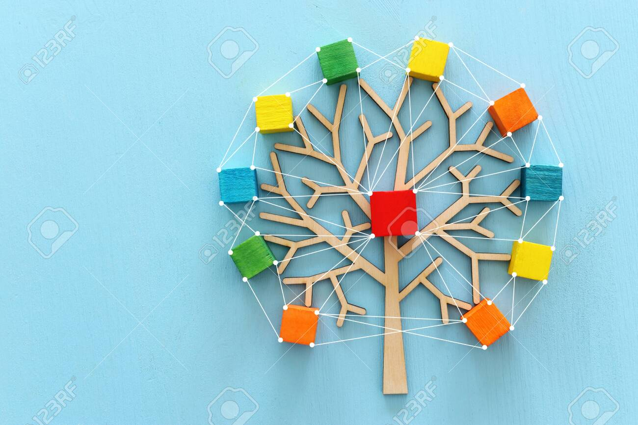 Business image of wooden tree with colorful cubes over blue table, human resources and management concept - 127066759