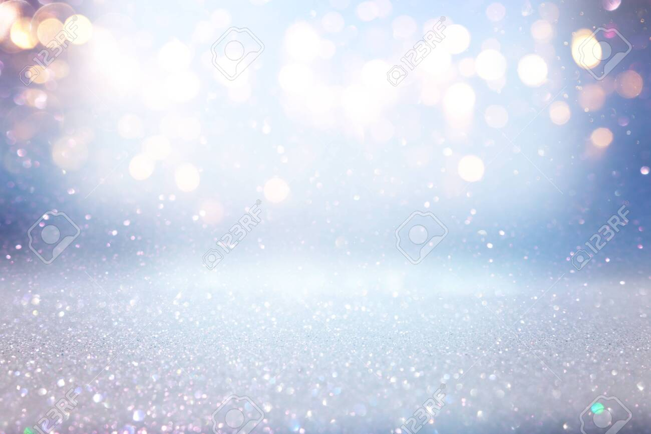 background of abstract glitter lights. blue, gold and silver. de focused - 128926209