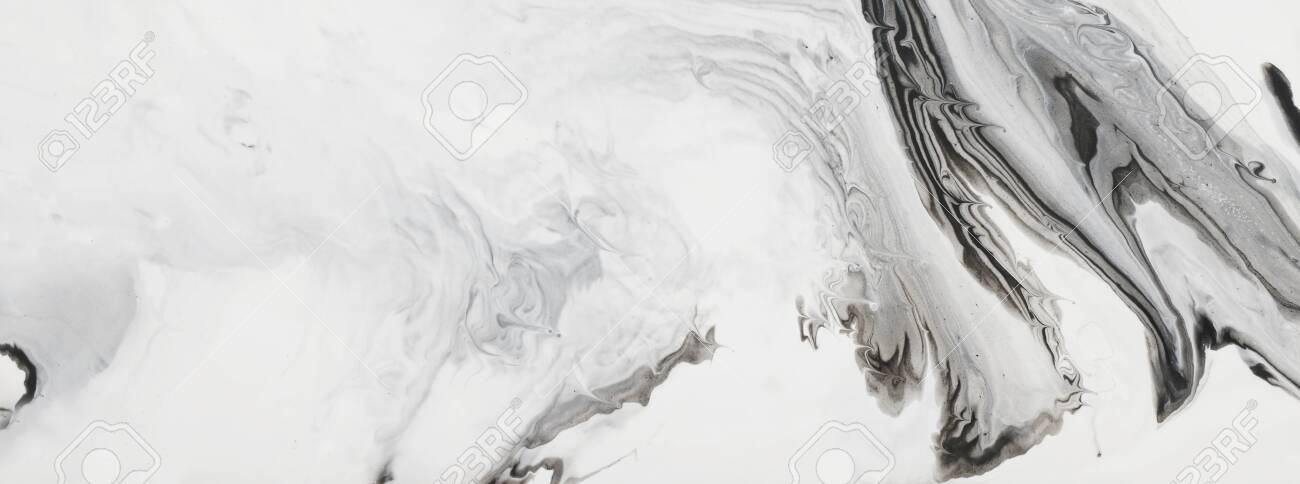 photography of abstract marbleized effect background. black and white creative colors. Beautiful paint. banner - 129648808