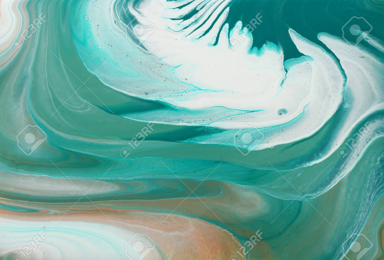 art photography of abstract marbleized effect background. turquoise, emerald green, white and gold creative colors. Beautiful paint - 130174855