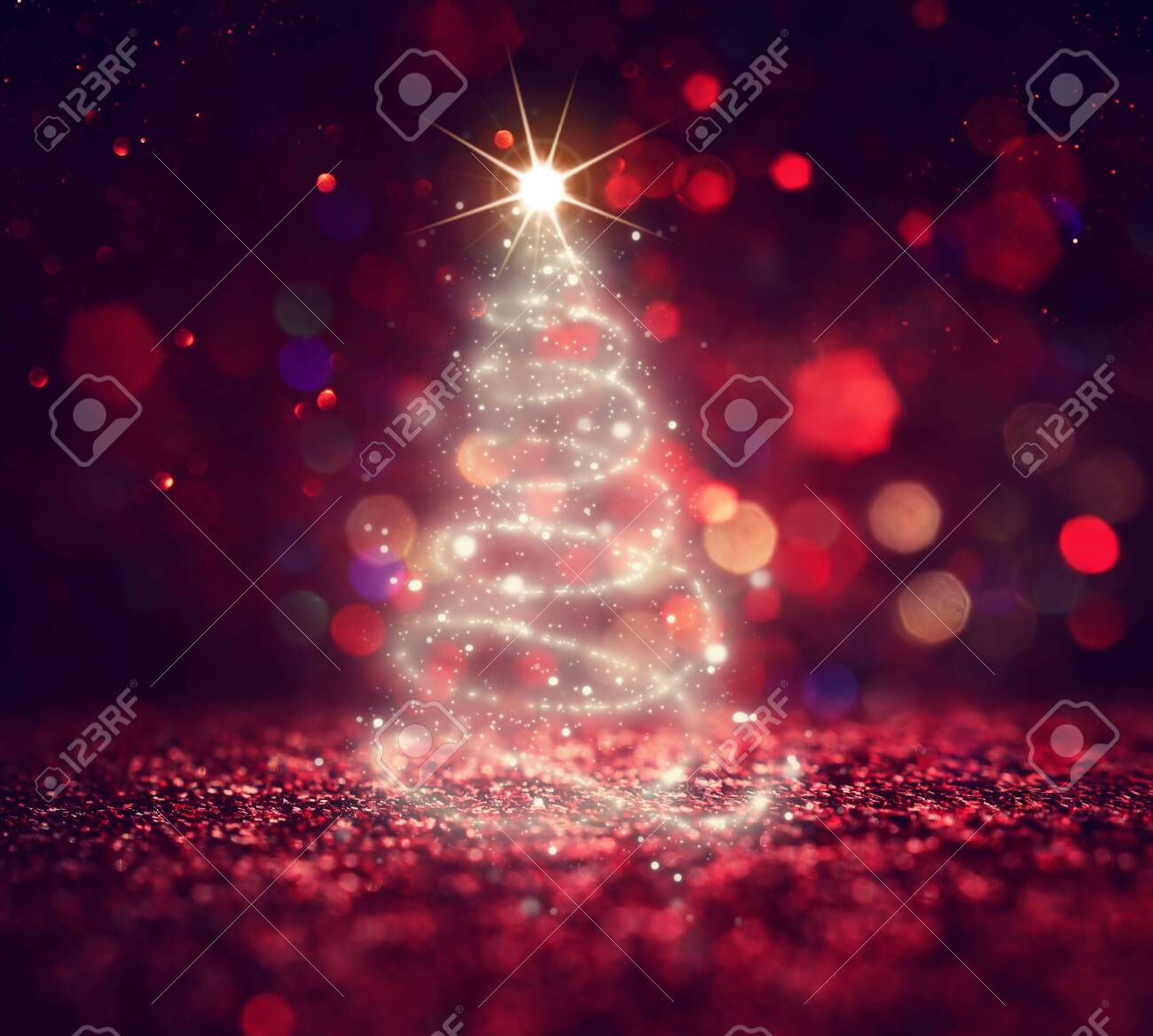background of Christmas tree with defocused glitter lights - 133891099