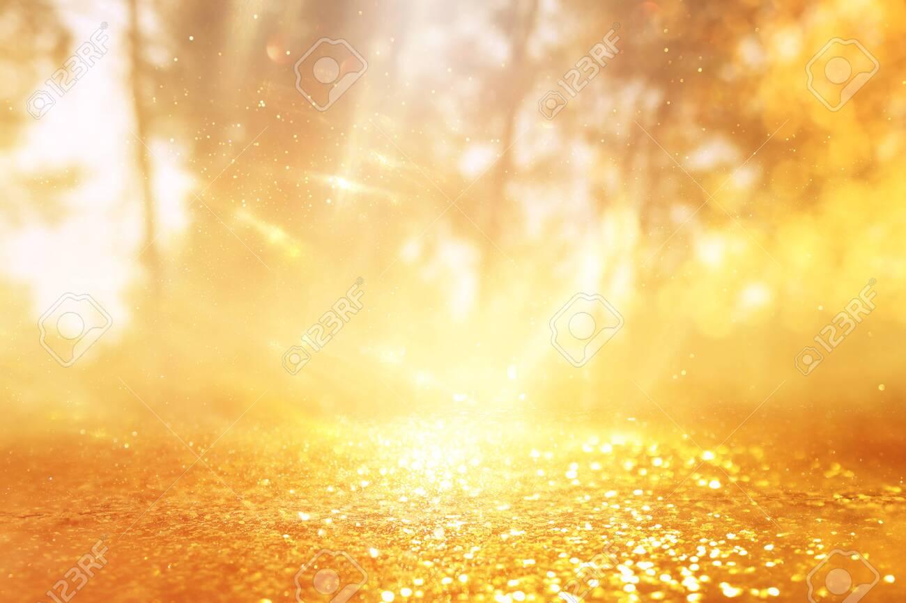 concept background photo of light burst among trees and glitter golden bokeh sparkles - 143276937