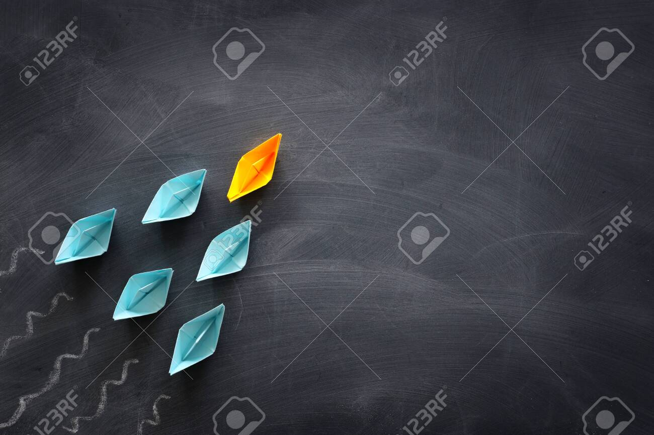 Leadership Banner Concept With Paper Boat On Blackboard Background Stock Photo Picture And Royalty Free Image Image 147851944