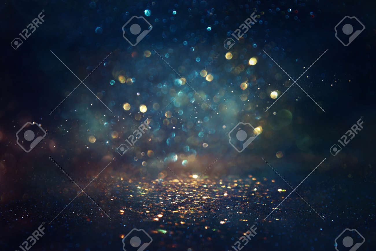 background of abstract glitter lights. gold, blue and black. de focused - 155601211