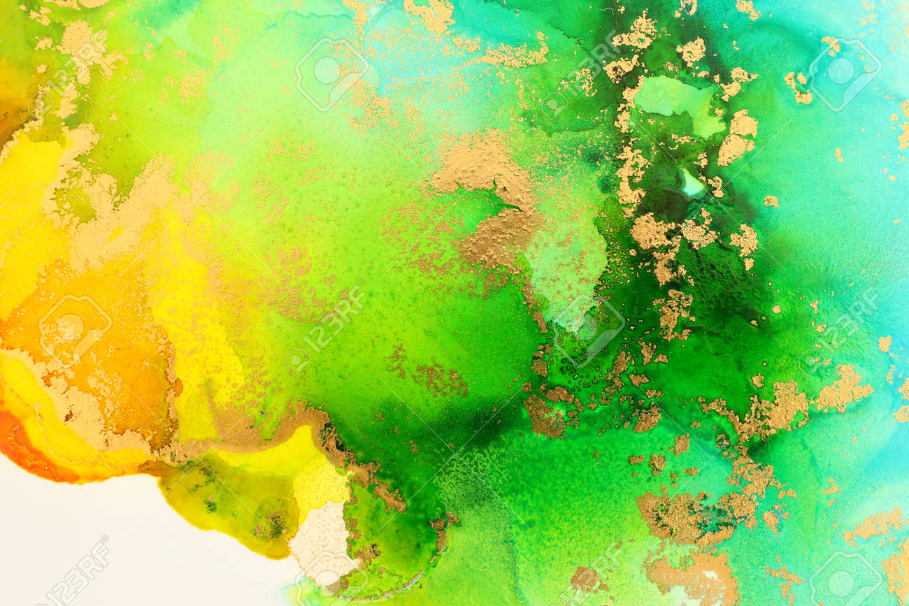 art photography of abstract fluid art painting with alcohol ink, ocean colors, green, turquoise, blue and gold - 165454309