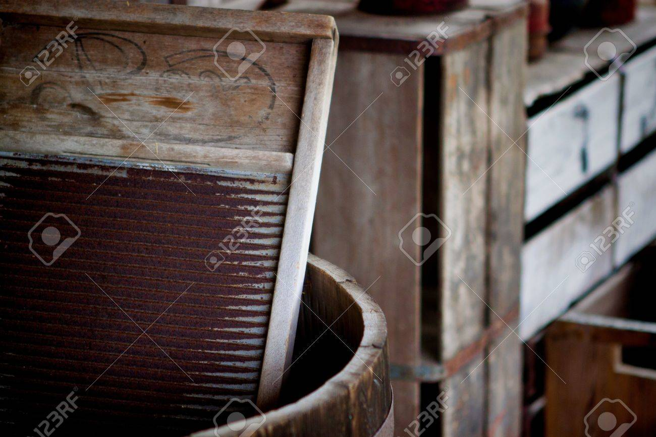 Fort Christmas Florida.Image Of A Washboard In A Barrel At The Fort Christmas Historical