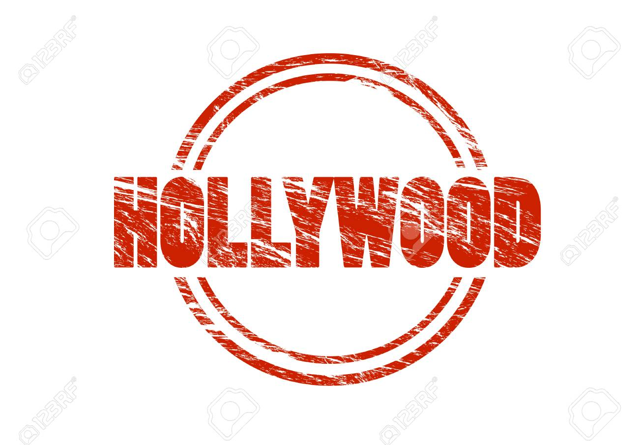 Hollywood Red Rubber Vintage Stamp Isolated On White Background Stock Photo