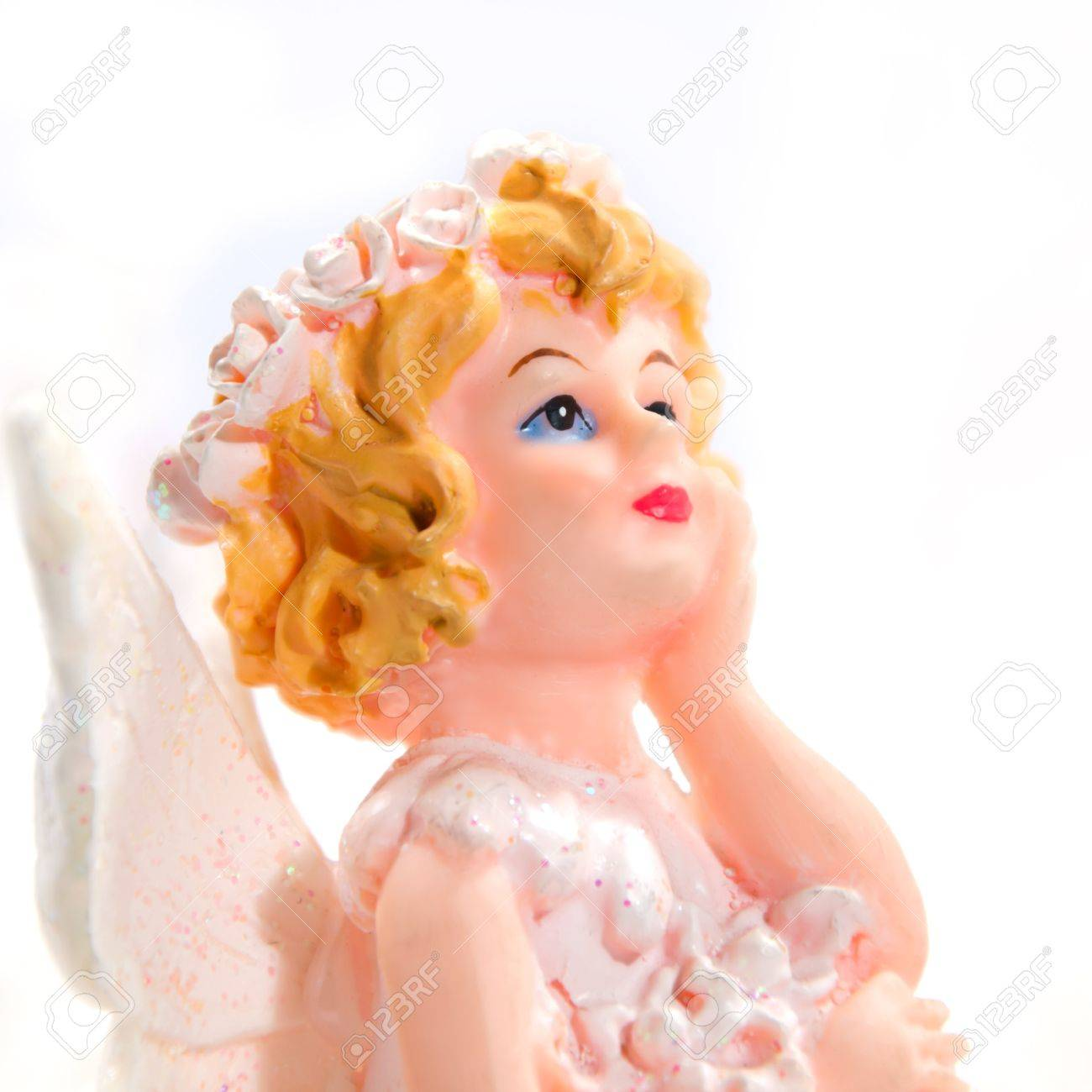 little girl angel in white background Stock Photo - 13584843