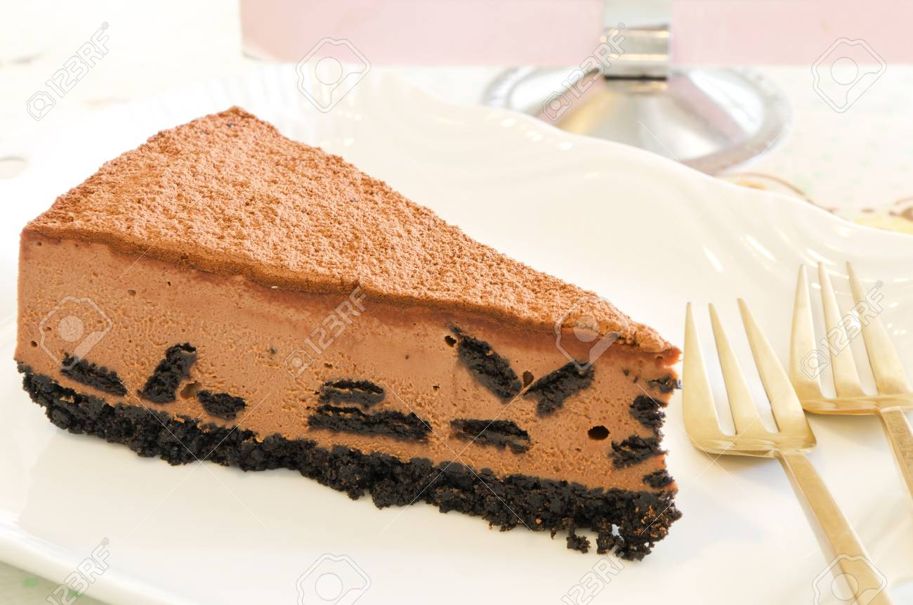 cookie and chocolate cheese cake on white plate Stock Photo - 13837156