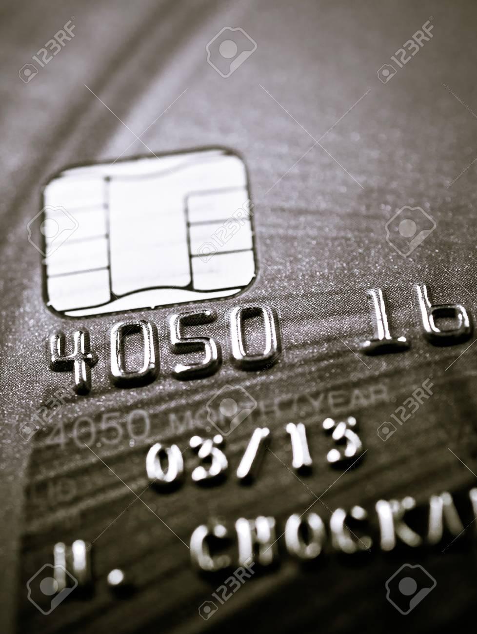 Closeup image of credit card and chip macro,selective focus Stock Photo - 21059683