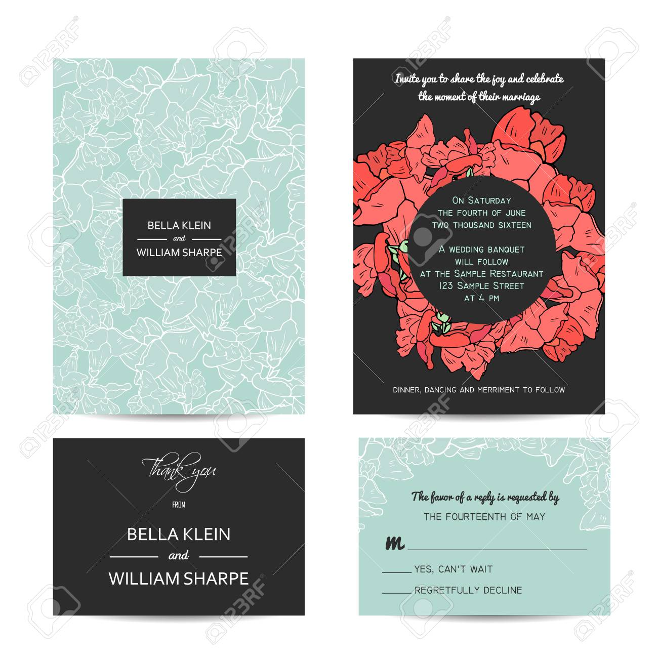 Abstract Wedding Floral Set With Invitation And Rsvp Cards Royalty ...