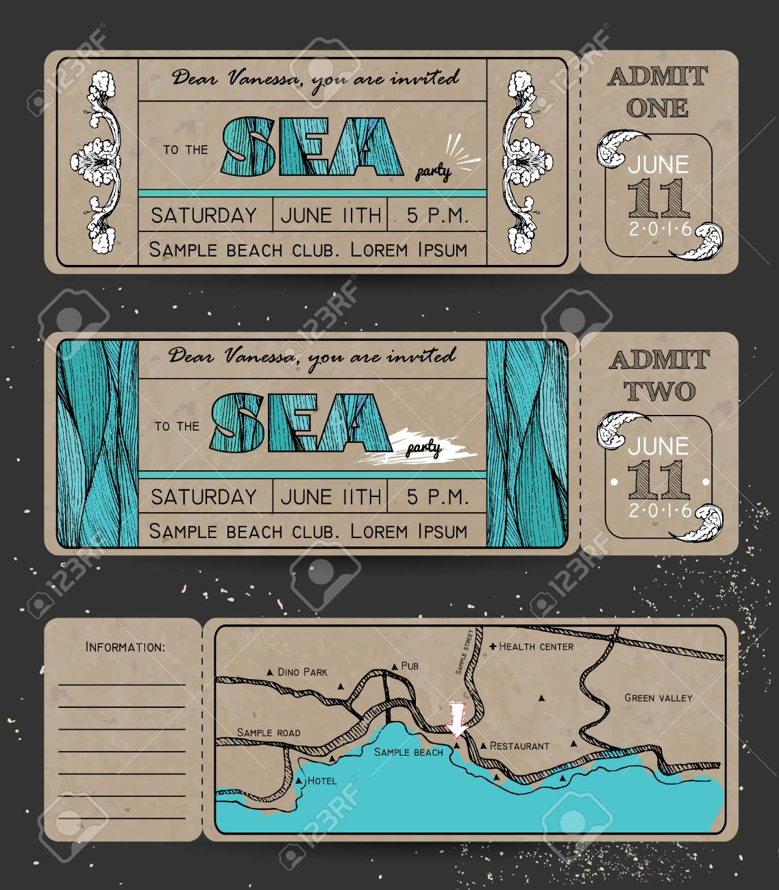 summer invitation template on paper ticket to a sea party or