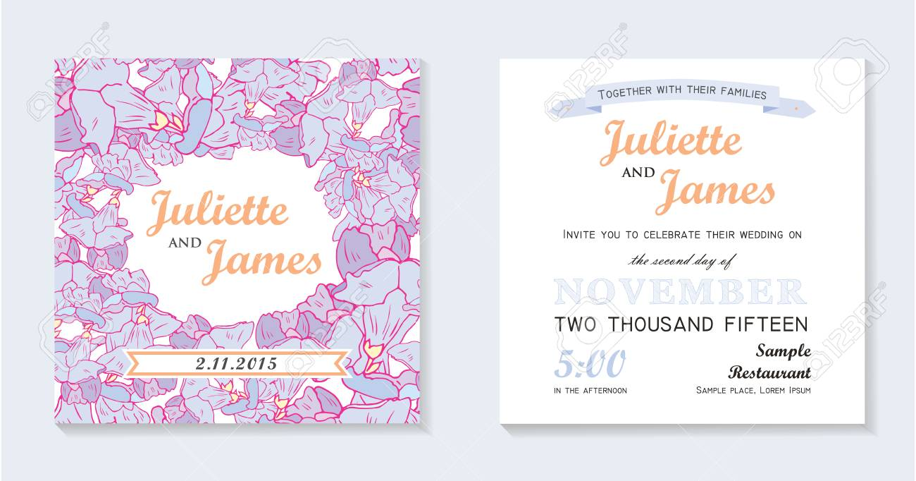 Floral Wedding Invitation Card Royalty Free Cliparts, Vectors, And ...