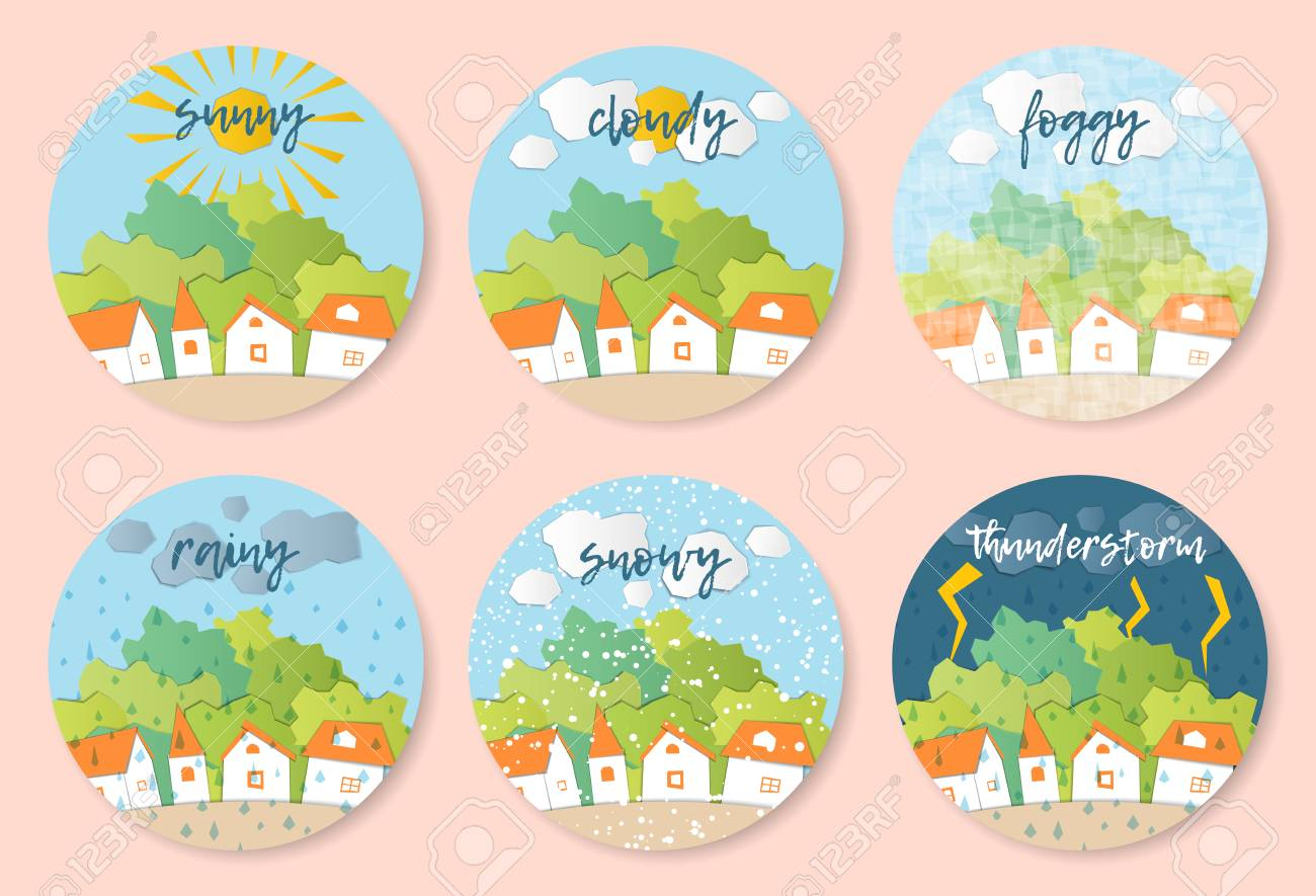 Weather Forecast in papercut style. Sunny, cloudy, foggy, rainy, snowy, stormy days. Children's applique style - 101079704