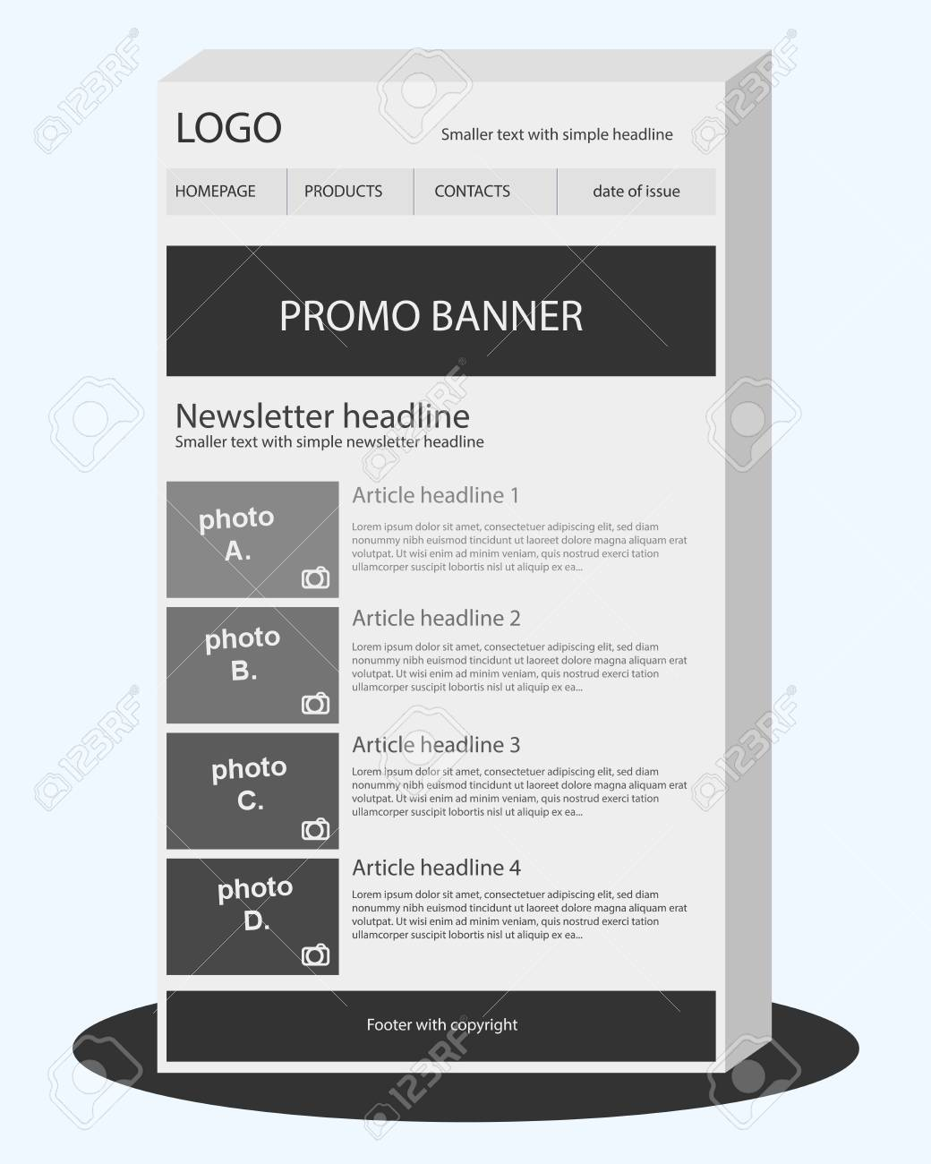Newsletter Black And White Template Royalty Free Cliparts Vectors - Black and white newsletter templates