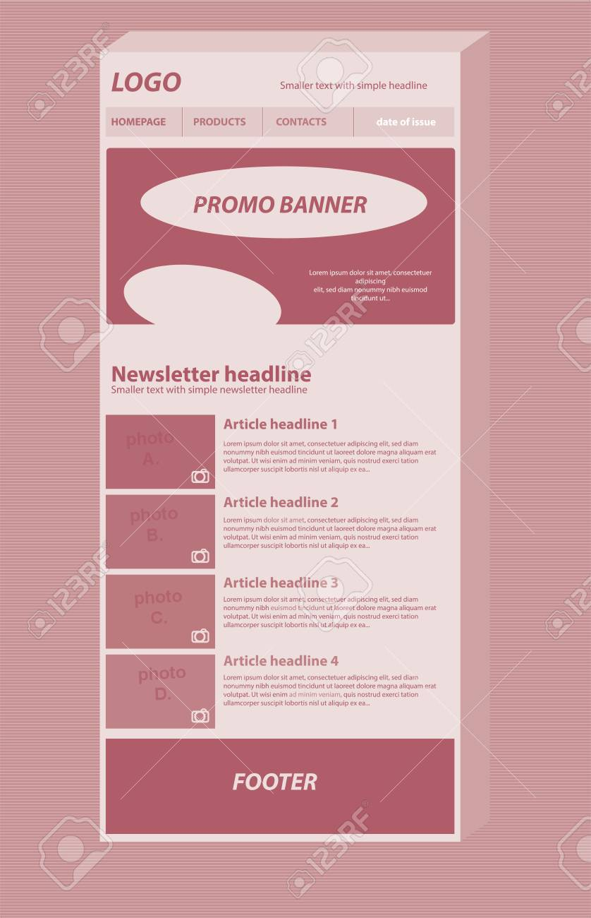 Responsive Newsletter Layout Template For Business Or Non Profit