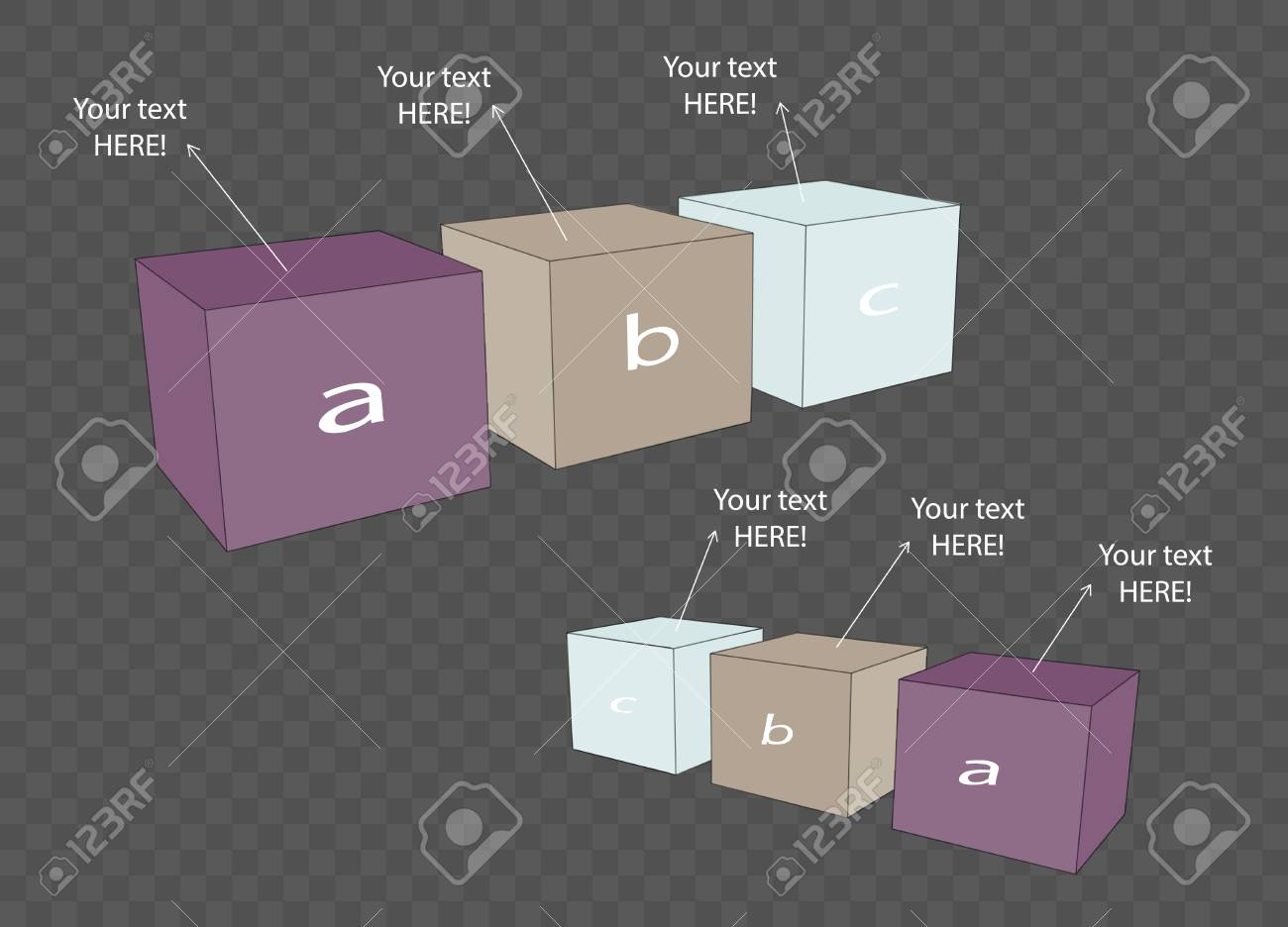 vector cube template for infographic or web design royalty free