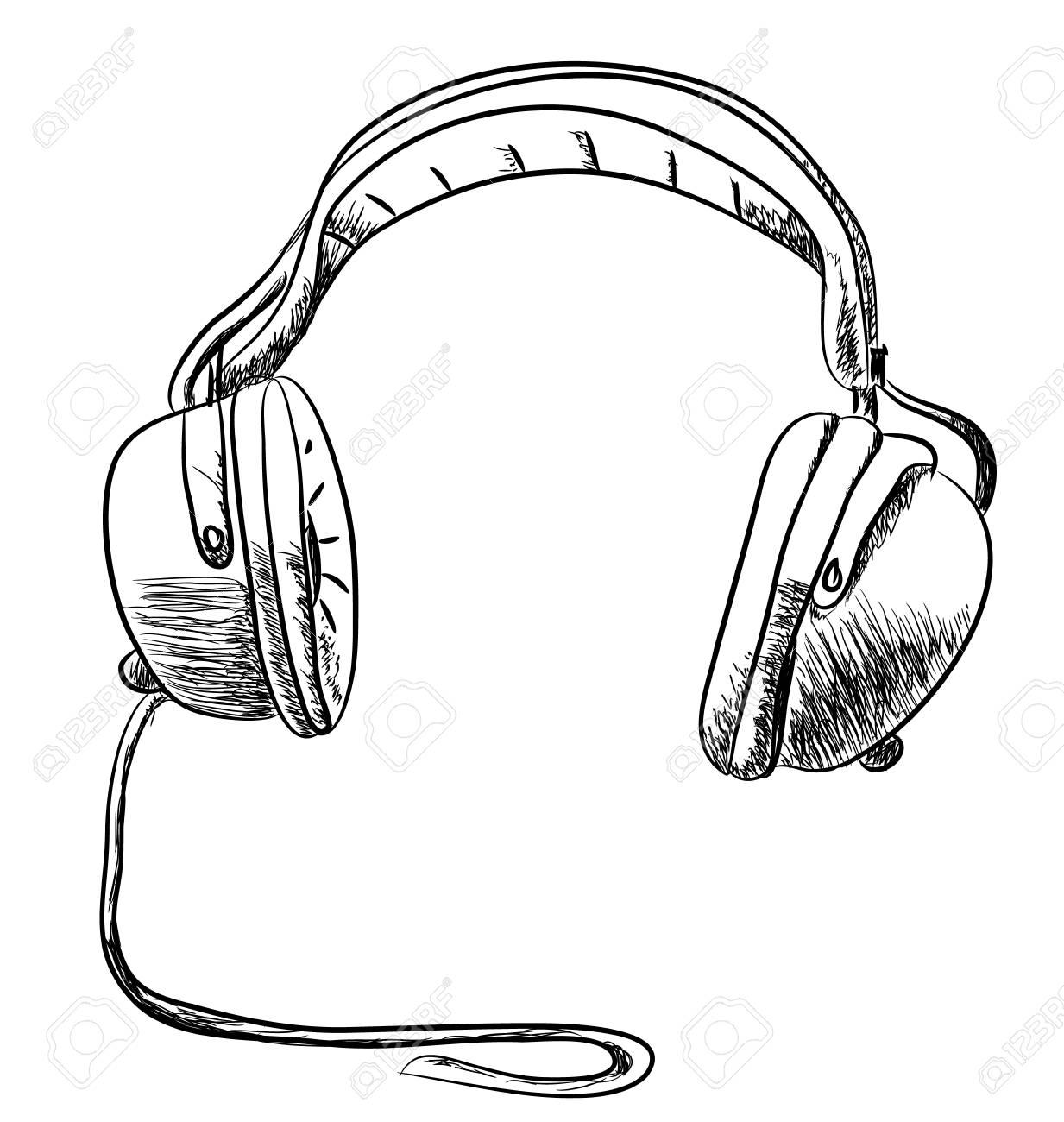 Dessin Casque Audio main casque dessiné dessin vectoriel clip art libres de droits