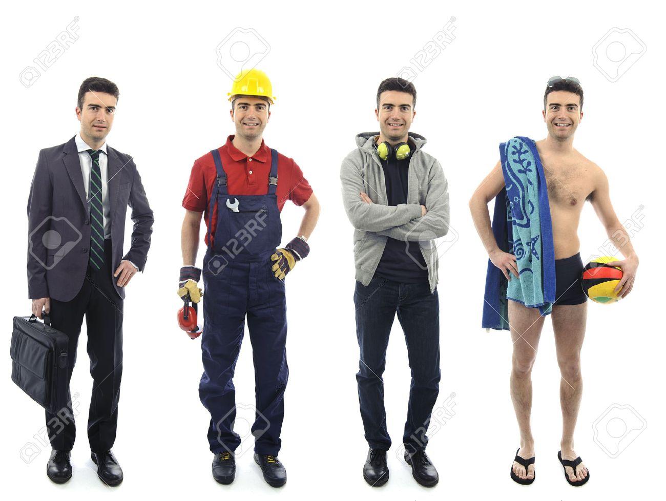 Человек в разной одежде