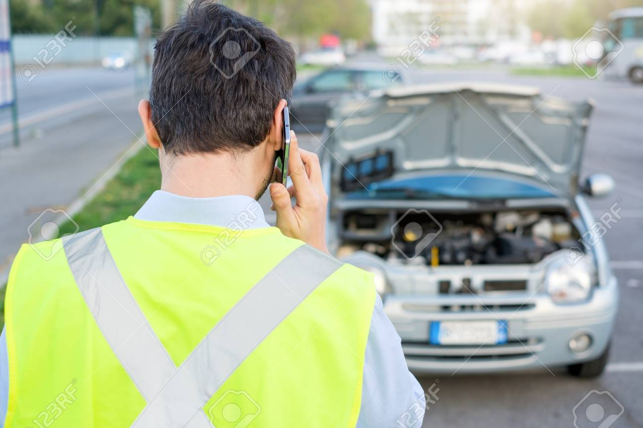 Upset Man Calling Assistance Mechanic Service After Car Breakdown ...