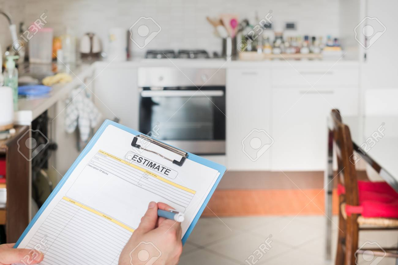 kitchen renovation of domestic appliances estimate costs stock photo