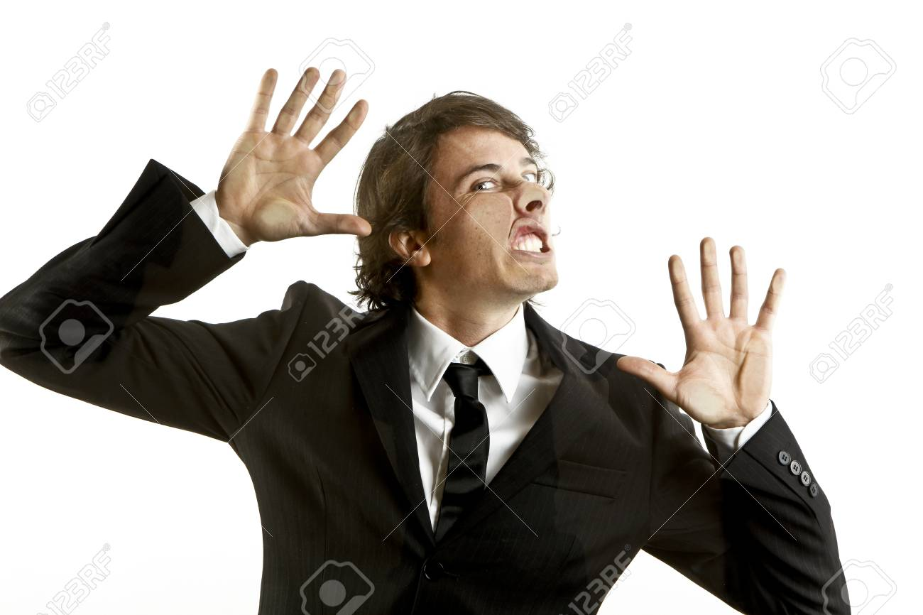young businessman crushed on a glass Stock Photo - 9844150