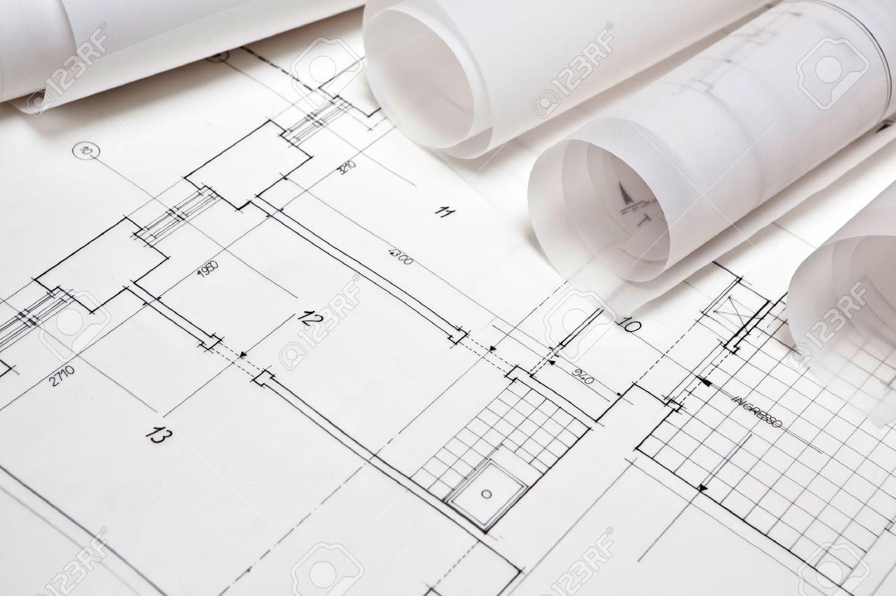 Architectural Project Architect Rolls And Plans Stock Photo