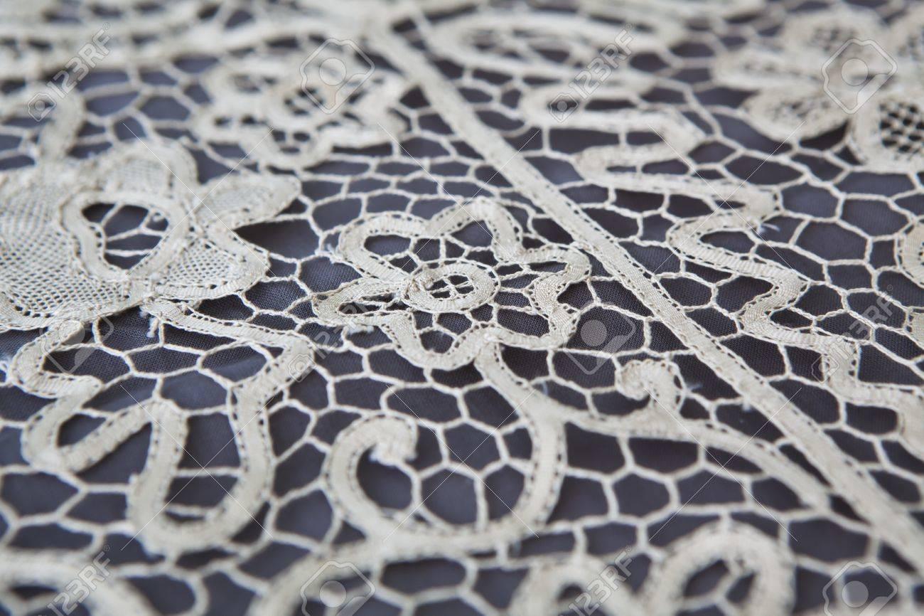 Vintage Lace Tablecloth Detail Stock Photo   13963635
