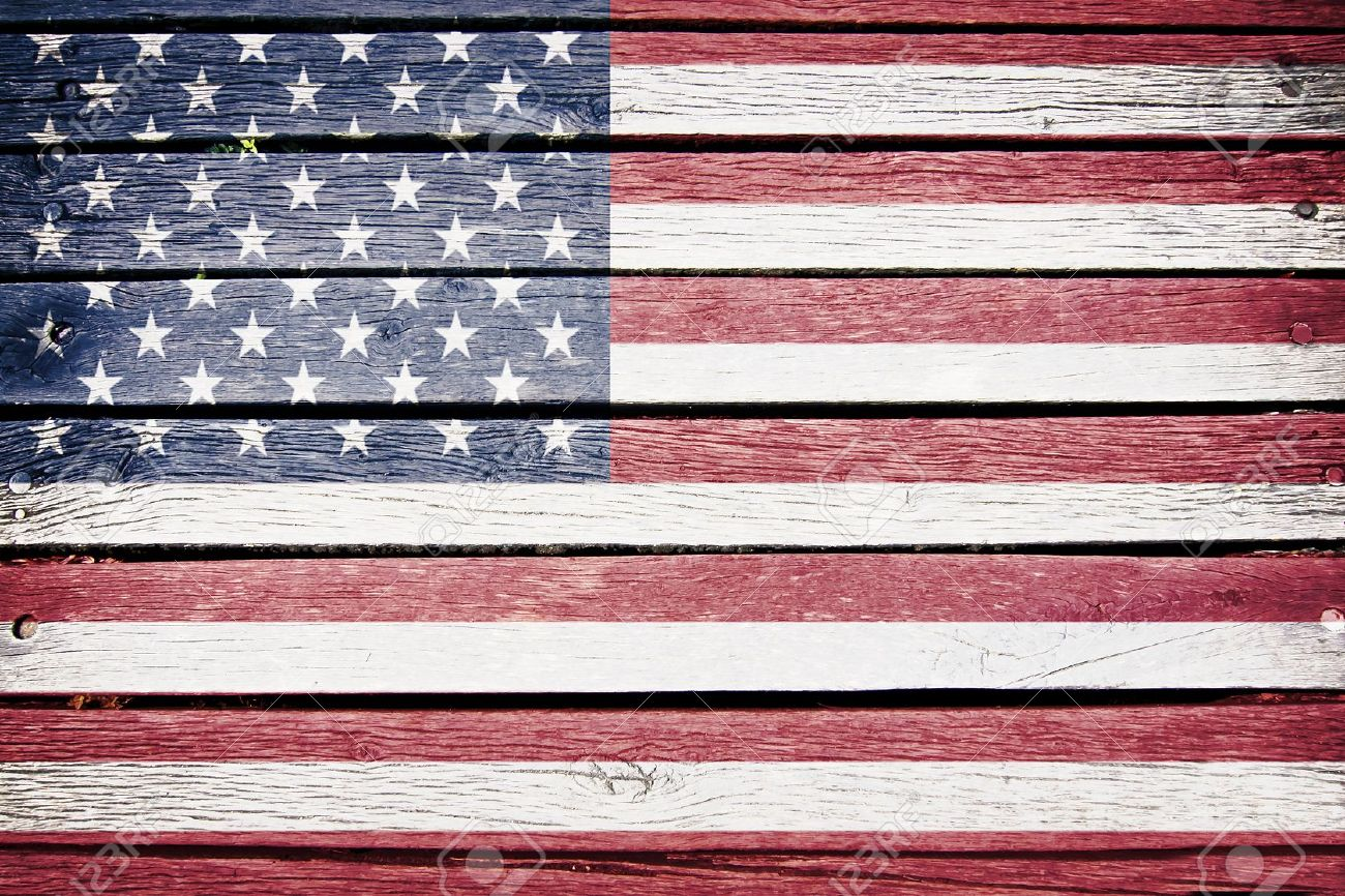 USA American Flag Painted On Old Wood Plank Background Stock - How old is the united states of america
