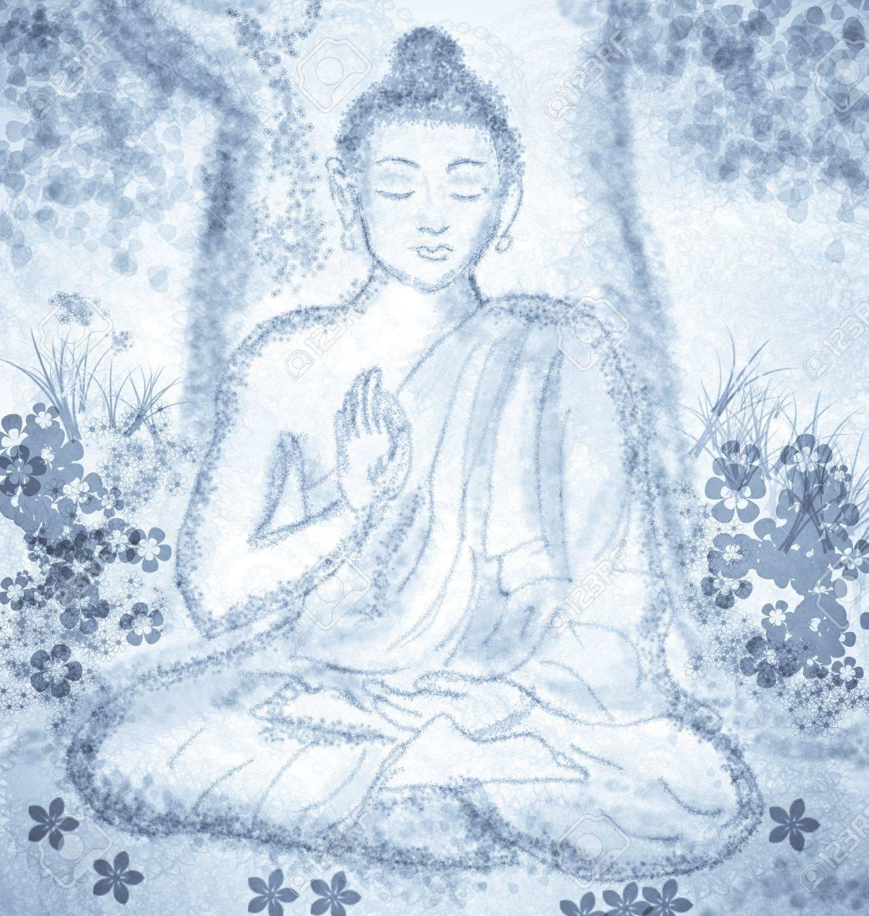 drawing of meditating buddha Stock Photo - 25815814