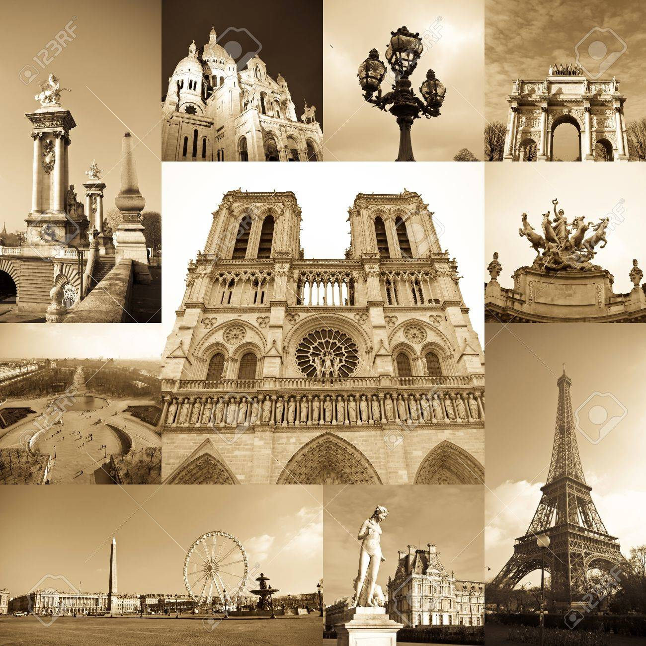 paris collage of the most famous monuments and landmarks stock photo