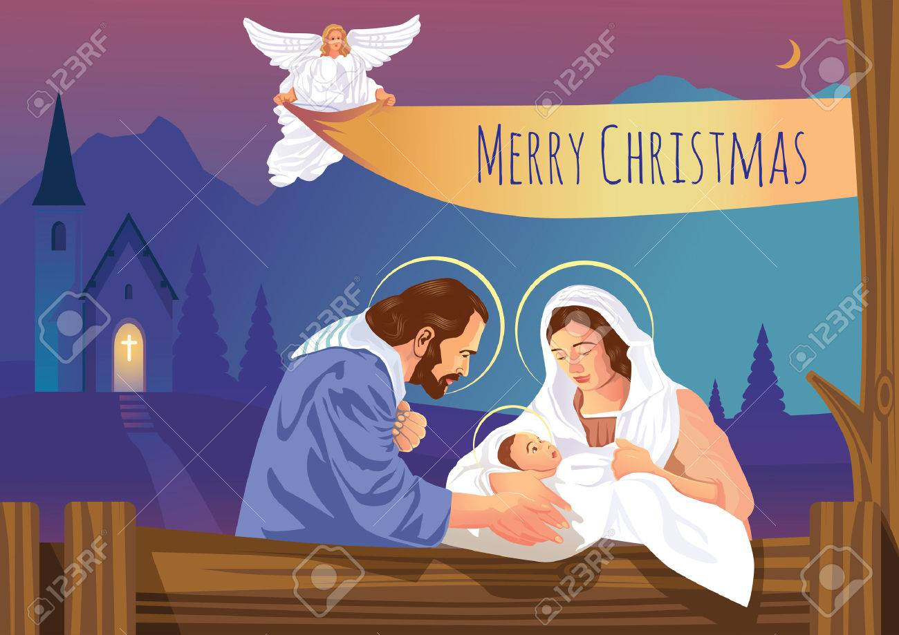 Immagini Gesu Bambino Natale.Presepe Cristiano Di Natale Con Gesu Bambino E Angeli