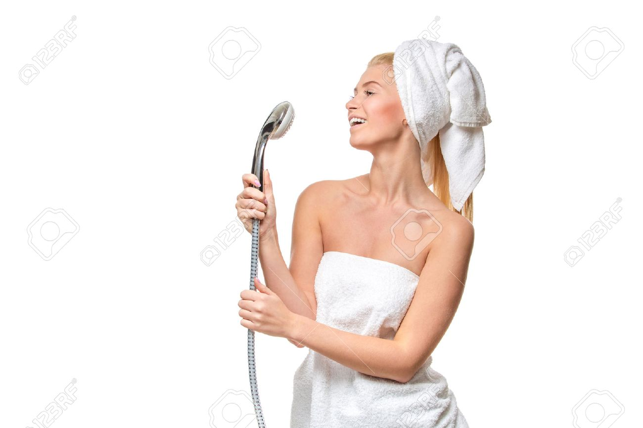 Happy Pretty Woman In Towel Singing Using Shower Head Having ...